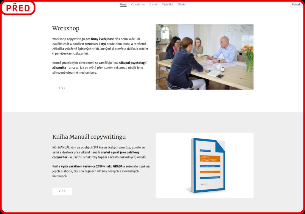Screenshot webu k analýze